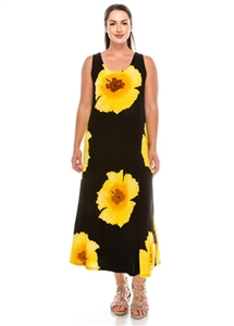Long tank dress - yellow big flower - polyester/spandex