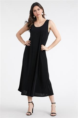 Long tank dress - black - polyester/spandex