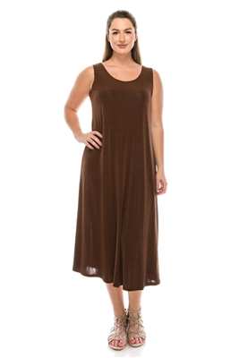 Long tank dress - brown - polyester/spandex