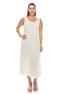 Long tank dress - ivory - polyester/spandex