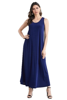 Long tank dress - navy - polyester/spandex