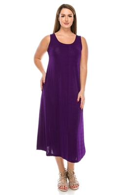 Long tank dress - purple - polyester/spandex