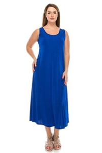 Long tank dress - royal blue - polyester/spandex