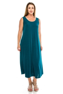 Long tank dress - teal - polyester/spandex