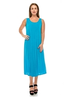 Long tank dress - turquoise - polyester/spandex