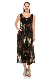 Long tank dress - brown tiger - polyester/spandex
