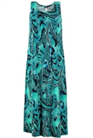 Long tank dress - aqua animal print - polyester/spandex
