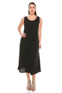 Long tank dress - black/white polka dots 2 - polyester/spandex