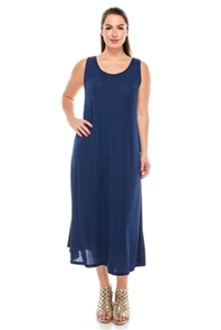 Long tank dress - navy/white polka dots - polyester/spandex