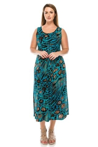 Long tank dress - blue/brown animal print - polyester/spandex