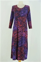 Long sleeve long dress - red/purple animal
