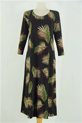 Long sleeve long dress - black with palms