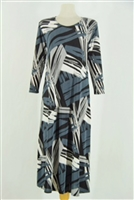 Long sleeve long dress - grey brushstrokes