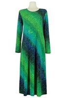 Long sleeve long dress - green tie dye
