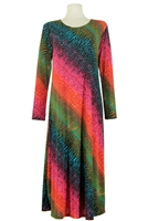 Long sleeve long dress - red/green tie dye
