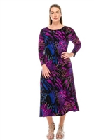Long sleeve long dress - blue/purple - polyester/spandex