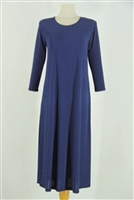 Long sleeve long dress - navy/white polka dots 2