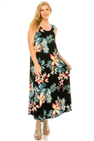 Long tank dress - black/tropical flowers - polyester/spandex