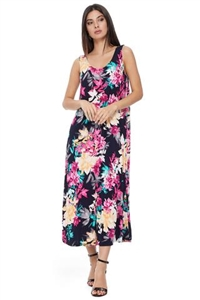 Long tank dress - black with pink/yellow flowers - polyester/spandex