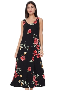 Long tank dress - black with red flowers - polyester/spandex