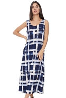 Long tank dress - navy/white print - polyester/spandex