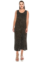 Long tank dress - black/white polka dots - polyester/spandex