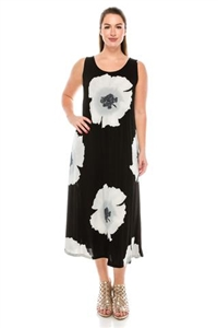 Long tank dress - grey big flower - polyester/spandex