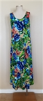 Long tank dress - blue/green floral - polyester/spandex