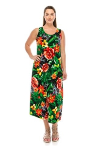 Long tank dress - red floral with green leaves - polyester/spandex