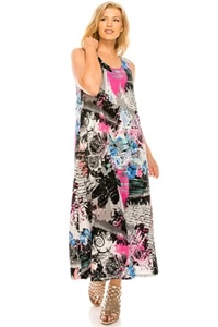 Long tank dress - pink/grey - polyester/spandex