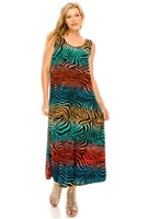 Long tank dress - multi zebra print - polyester/spandex