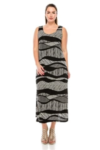 Long tank dress - black/white waves - polyester/spandex