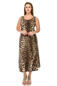 long tank dress in brown leopard - polyester/spandex