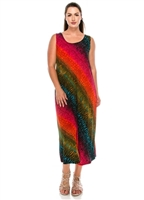 long tank dress - red/green diagonal tie dye