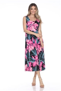 long tank dress in pink iris s - polyester/spandex