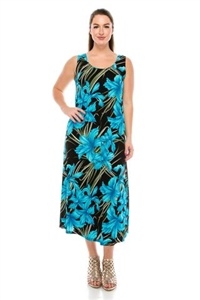 long tank dress in blue iris - polyester/spandex
