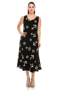 Long tank dress - nautical print - white on black - polyester/spandex