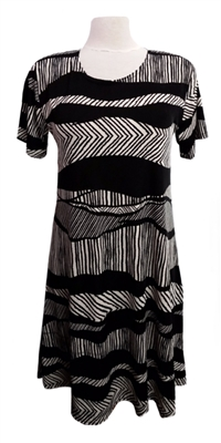 Short sleeve short dress - black and white waves - polyester/spandex