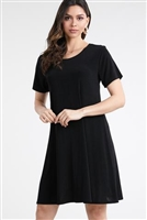 Short sleeve short dress - black - polyester/spandex