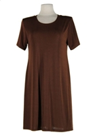Short sleeve short dress - brown - polyester/spandex