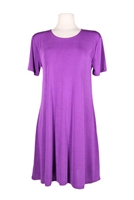 Short sleeve short dress - purple - polyester/spandex