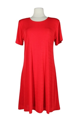 Short sleeve short dress - red - polyester/spandex