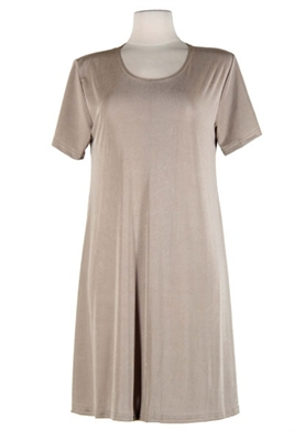 Short sleeve short dress - taupe - polyester/spandex