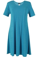 Short sleeve short dress - turquoise - polyester/spandex
