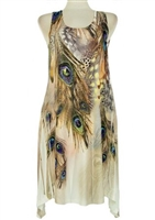 Short two point tank dress - ivory peacock feathers with stones