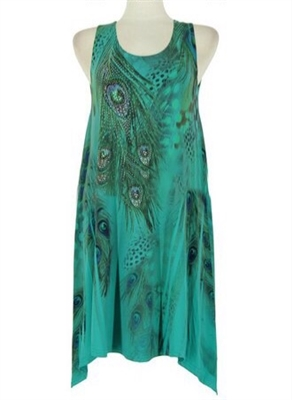 Short two point tank dress - jade peacock feathers with stones