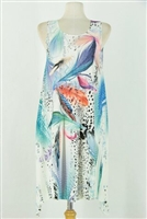 Short two point tank dress - colorful feathers on white