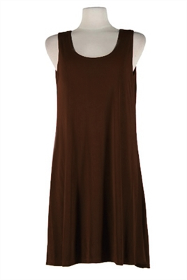 Short tank dress - brown - polyester/spandex