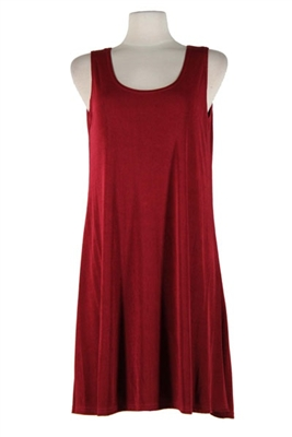 Short tank dress - burgundy - polyester/spandex