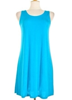 Short tank dress - turquoise - polyester/spandex